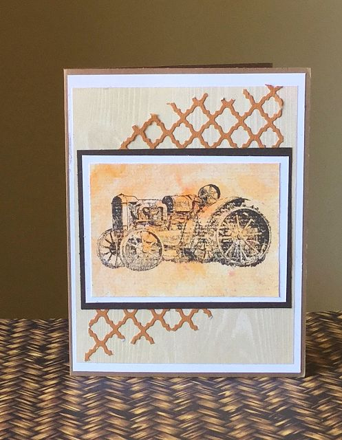 This card features the Rusty Tractor Deep Red Stamp