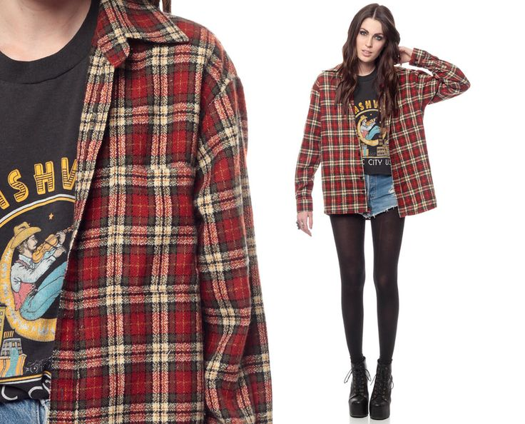 90s Plaid Shirt Red Grunge Long Sleeve Collared by ShopExile