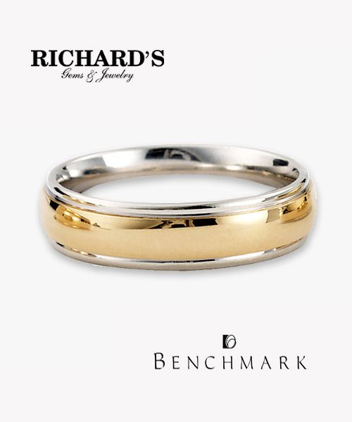 14K White/Yellow Gold and  Platinum/18K Yellow Gold 6mm Two Tone Men's Wedding Band with comfort fit