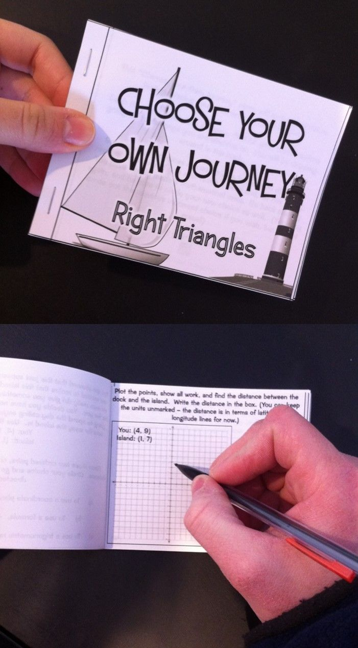 """Right Triangles and Trig """"Choose Your Own Journey"""" Book - Within the story, students make choices and use Distance Formula / Pythagorean Theorem, Trigonometric Ratios, and Angles of Elevation and Depression to find missing measurements in right triangles. #trigonometry"""