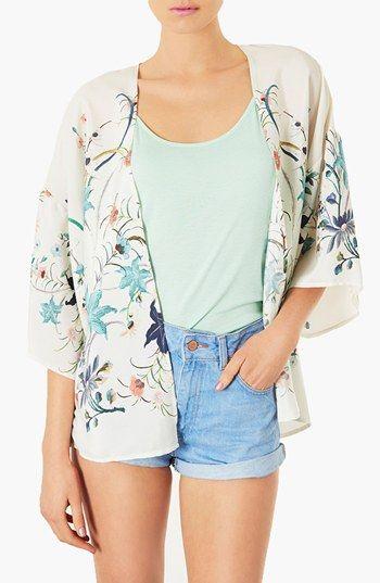 Topshop Bird Print Kimono Jacket available at #Nordstrom