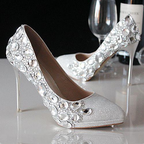 chaussures femme de soirée aux strass scintillants argent escarpin pas cher à talon aiguille