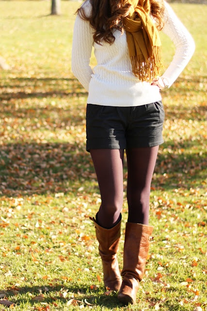 Tights under shorts with sweater, scarf, and boots.  Very cute for Fall or Winter.