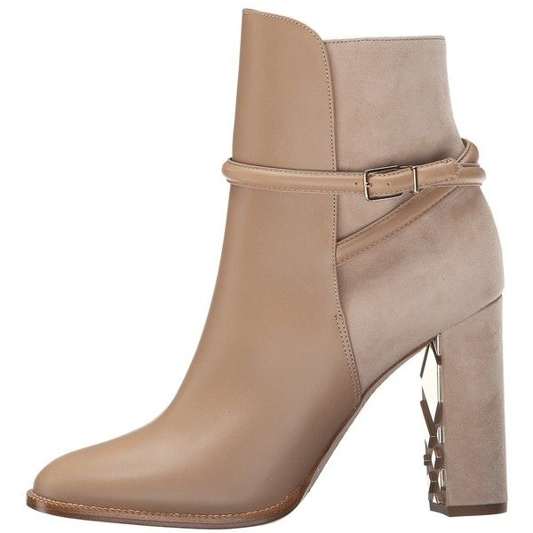 Burberry Shola (Light Nude) Women's Boots ($697) ❤ liked on Polyvore featuring shoes, boots, ankle booties, ankle boots, pointed toe booties, leather ankle booties, bootie boots and short leather boots