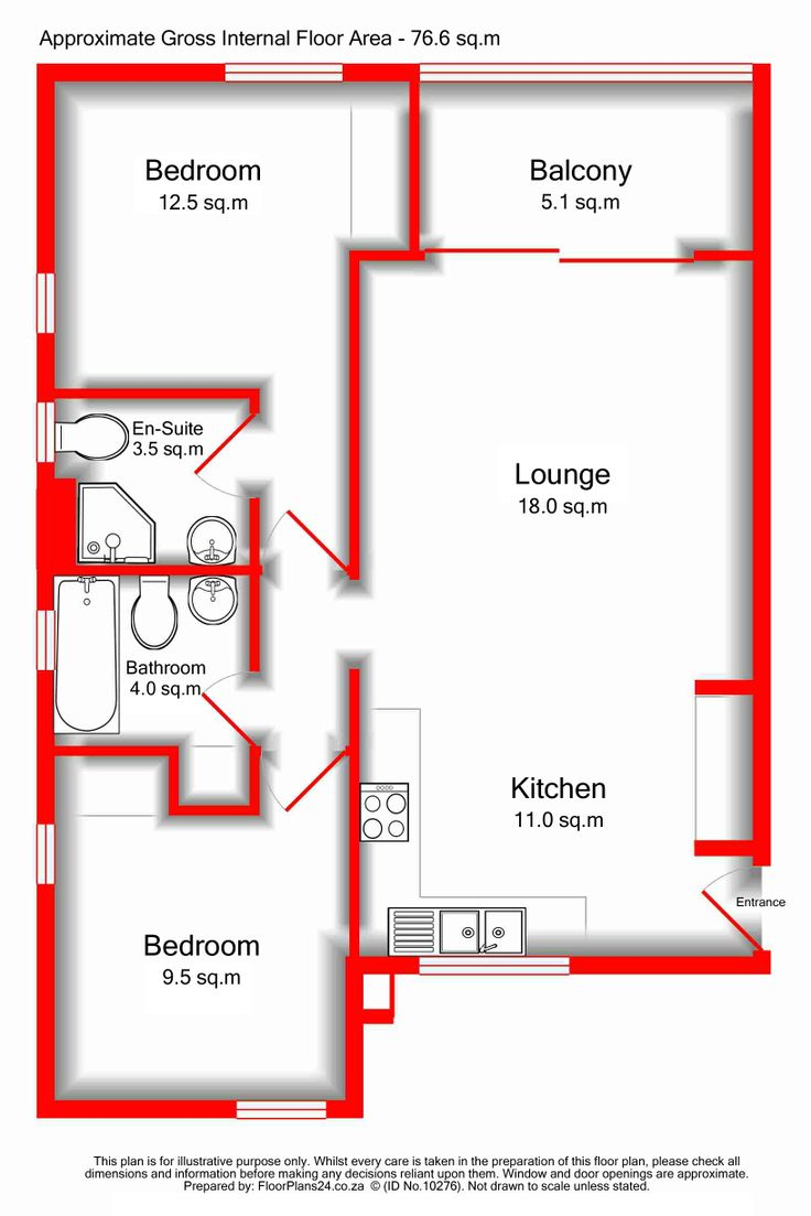 Enhanced Layout - Drop Shadow Walls - 2 Bedroom Apartment - 76 sq.m - FloorPlans24 delivers a solution that works for YOU – Talk to us…