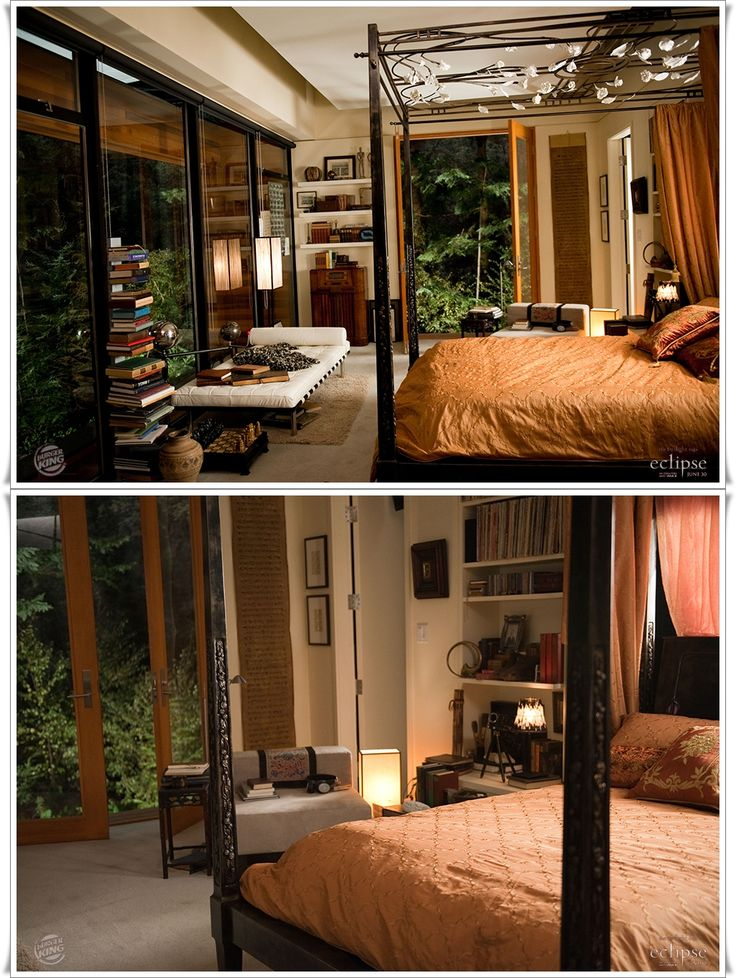 Yes, this is Edward's bedroom in the Twilight movies. No, I do not care. Everything about it makes me weak in the knees... the floor-to-ceiling windows, the ornate 4 poster bed, the french doors, the recessed/drop ceiling. <3 <3 <3