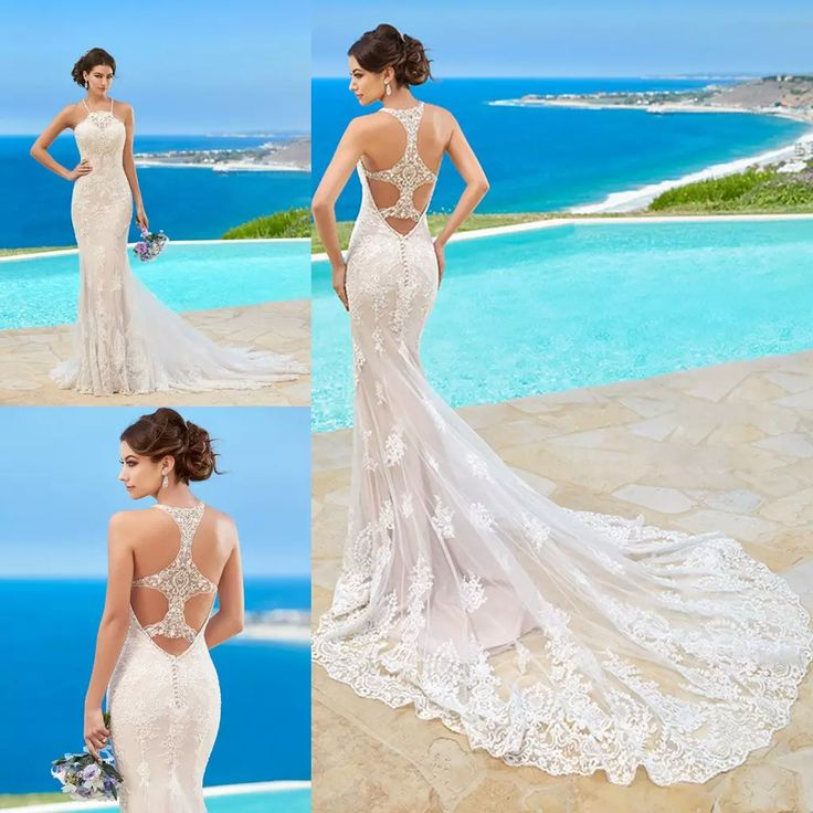 Kitty Chen Wedding Dresses Lace Appliqued Halter Sleeveless Beach Wedding Dress Sweep Train Mermaid Ball Gown For Bride Cheap Wedding Dresses Online Corset Wedding Dresses From Newdeve, $149.6| Dhgate.Com