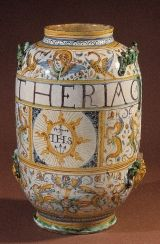 "Tin-glazed Earthenware Jar, or ""Albarello,"" containing theriac, Italy, ca. 1641."
