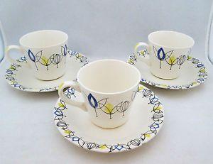 STAVANGERFLINT-POTTERY-3-X-FLAMINGO-COFFEE-CUP-SAUCER-TULIP-INGER-WAAGE-C1960