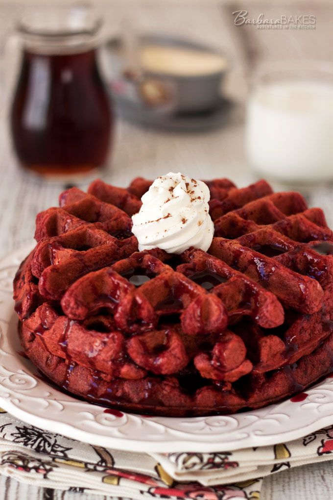 Red Velvet Waffles from @deborahharroun new Red Velvet Lover's Cookbook! via @BarbaraBakes