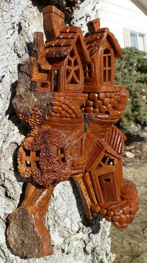 Nice bark house | Wood Carving Fairy & Gnome Houses etc | Pinterest