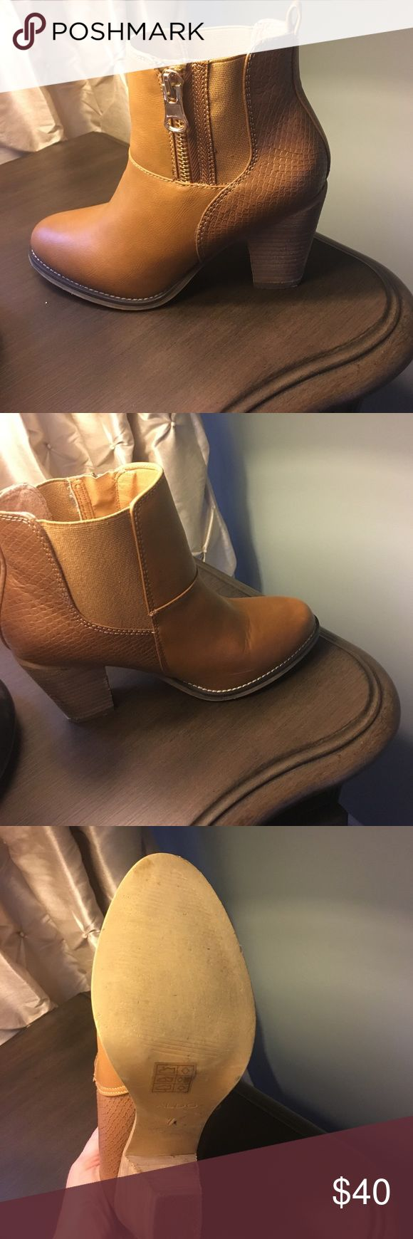 Aldo boots Camel color gold zipper Aldo boots.  Only worn once Aldo Shoes Ankle Boots & Booties