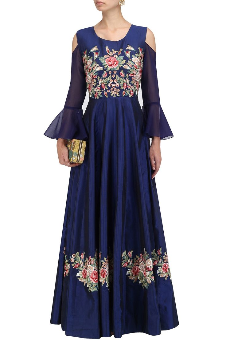 Navy blue floral embroidered gown available only at Pernia's Pop Up Shop.