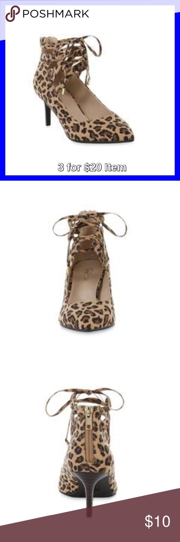Jaclyn Smith Tamara Leopard Print Ghillie Pump Sale! Price is firm unless 3 for $20 bundled. The elegant lace-up design of these pumps offers an adjustable fit, while the heel zipper lets you dress quickly. The 2 1/2 in taper heel gives you just enough lift to keep you feeling confident and stable. Features pointed toe, synthetic suede upper, padded footbed and rubber sole. Jaclyn Smith Shoes Heels