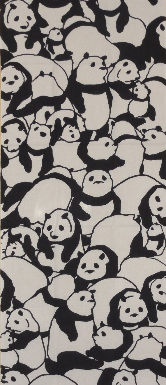 Tenugui Japanese Fabric 'Pile of Pandas'