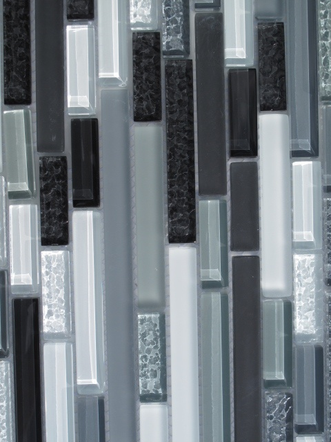 black white and grey horizontal glass mosaic tile