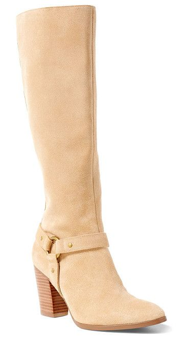 lauren fareeda suede boot by Ralph Lauren. This neutral-hued knee-high boot is a modern take on equestrian style thanks to a stacked 3¼-inch heel and a h...
