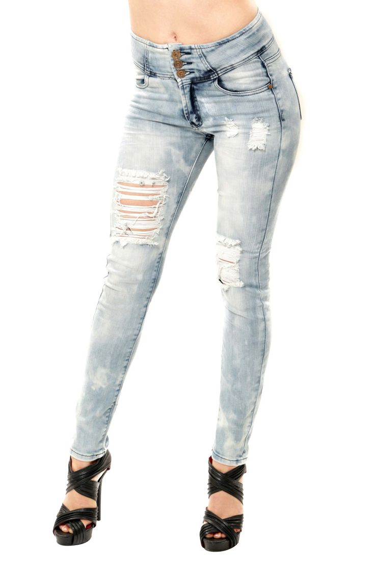 3 Button High Waist Skinny - Light Blue