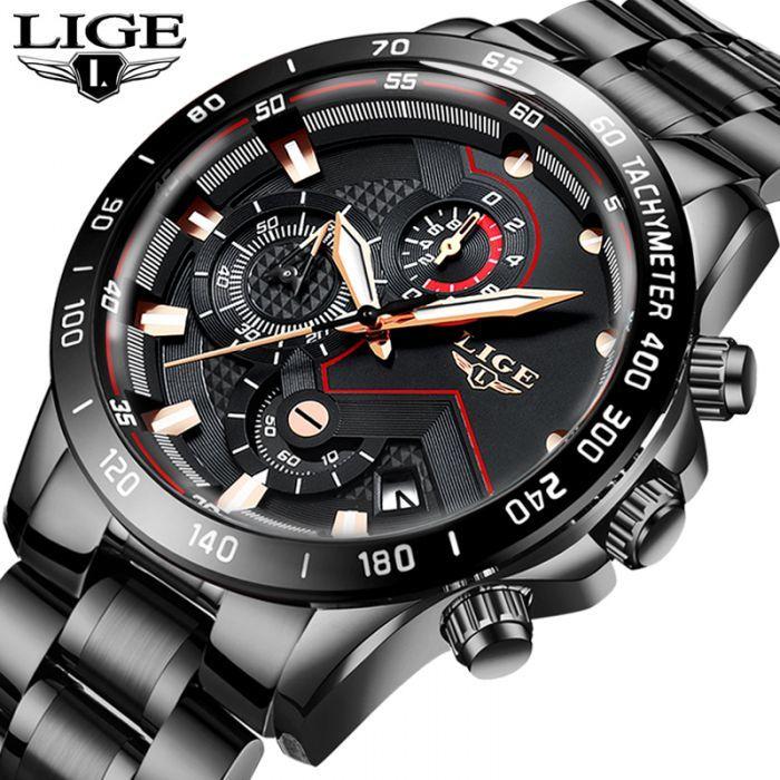 Senarai Harga Lige Fashion Mens Watches Stainless Steel Top Brand Luxury Sport Chronograph Quartz Watch In 2020 Watches For Men Mens Watches Waterproof Wristwatch Men