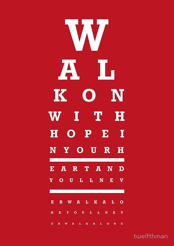 Eye Chart - Liverpool FC - You'll Never Walk Alone