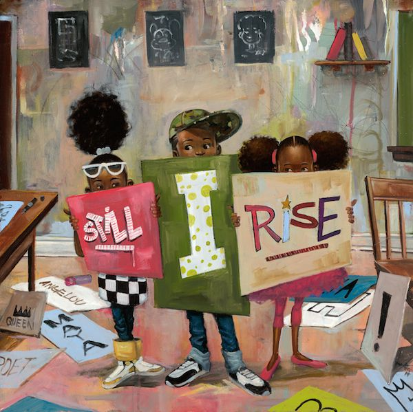 "Black Art of Young Black Children with Natural Hair Rising Above  ""STILL I RISE"" - Morrison Graphics  CodeBlack Art"