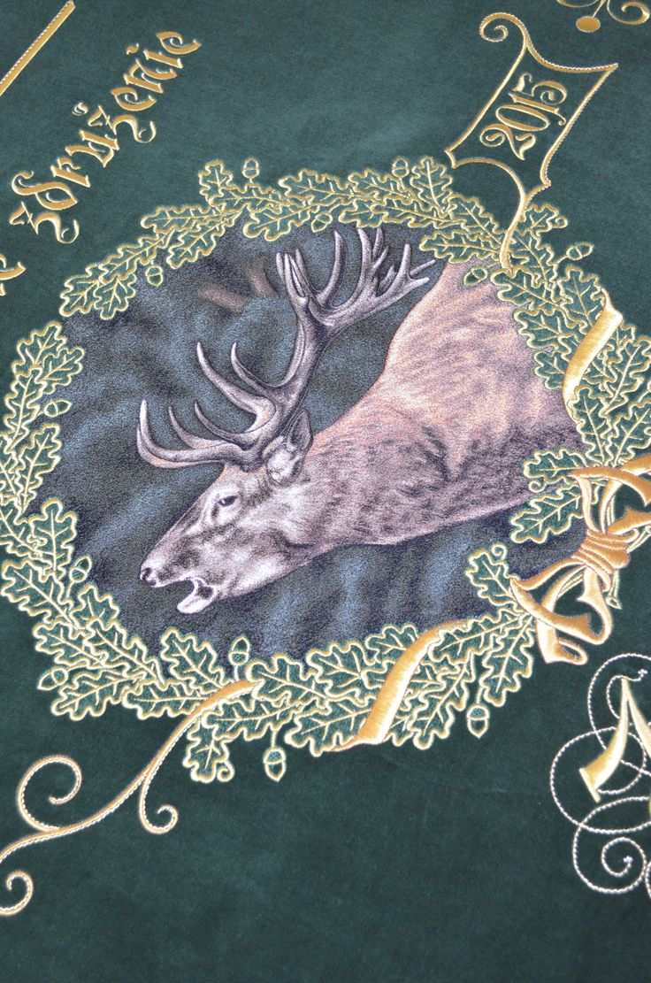 Embroidered beer on a hunting flag.