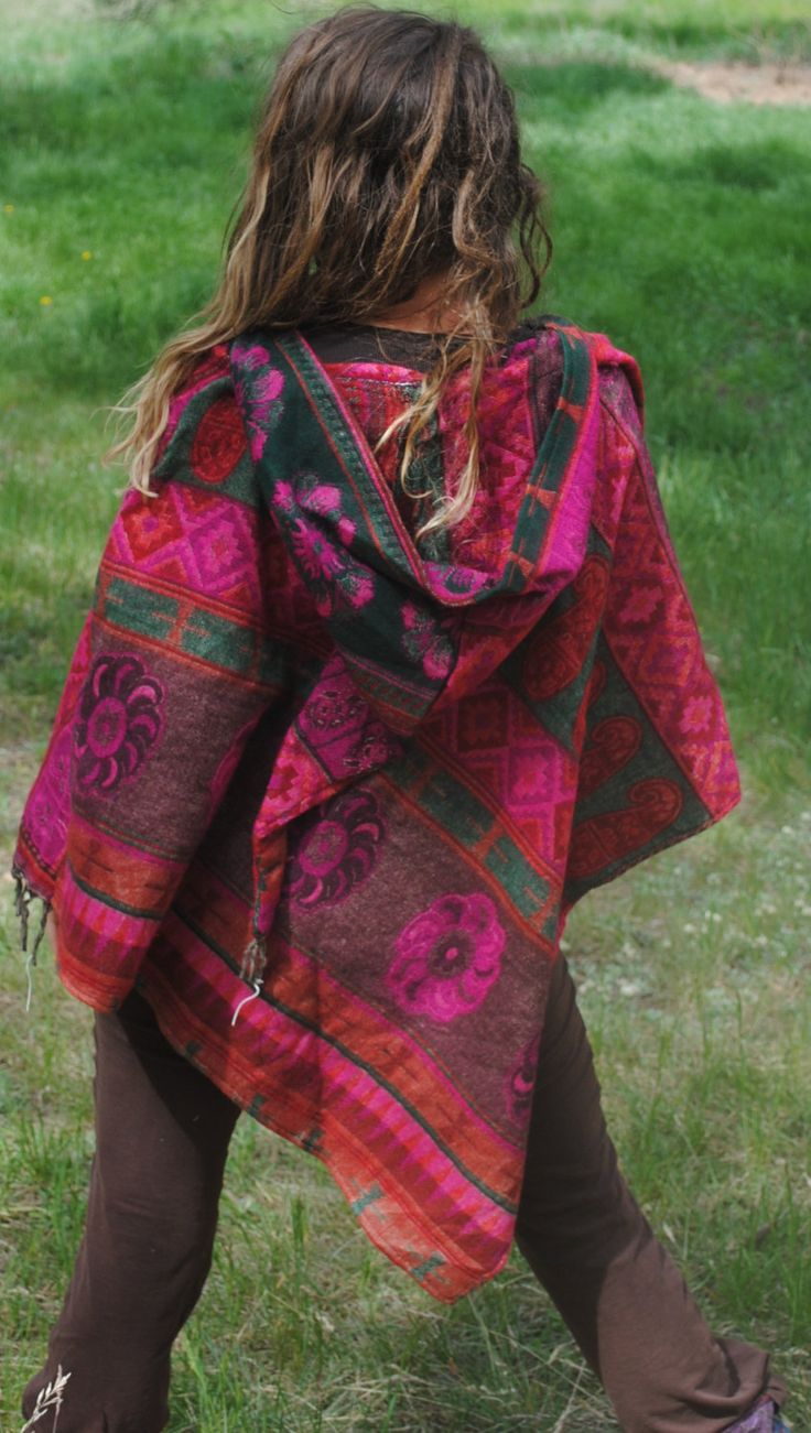 100% Yak Wool Hooded Poncho - Shawl Elven Hood Hippie Travel Gypsy Elf Fairy Pixie Bohemian by UbuntuThreads on Etsy