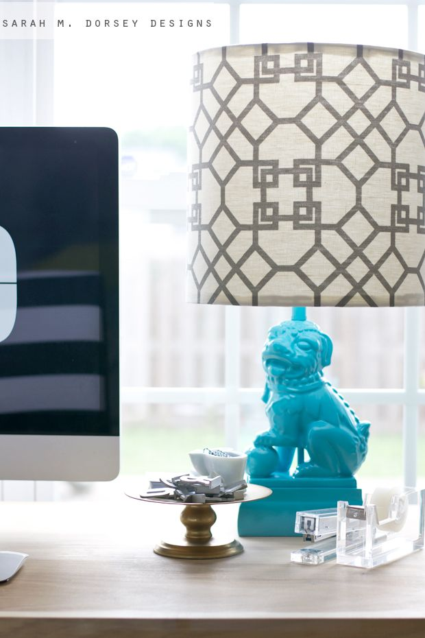 sarah m. dorsey designs: Foo Dog Lamp + DIY Lampshade Kit