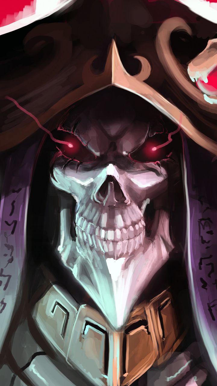 Skull, overlord, artwork, king, 720x1280 wallpaper Anime