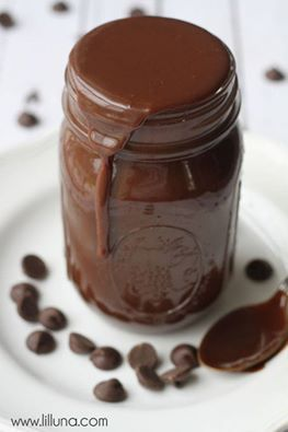 Homemade Fudge Sauce: Combine 2 c powdered sugar, 12 oz can evaporated milk, 1/2 c butter, 3/4 c semi sweet chocolate chips, in a saucepan. Bring to a boil. Cook 8 min, stirring constantly. Keeps in airtight container in fridge. Just Microwave to warm