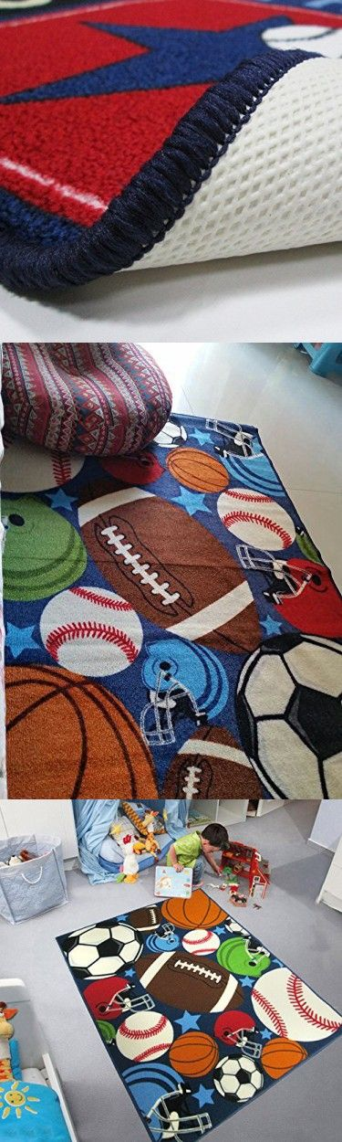 Blue Kids Rug Fun Sport Rugs Lets Play Blue Childrens Rug Balls Print with Soccer Ball, Basketball, Football, Tennis Ball Bedroom Playroom (80120cm(31.5''47''))