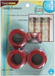 Dritz 44443 Curtain Grommets, Red, 1-Inch, 8-Pack by Dritz. Save 4 Off!. $9.24. A template is included to help aid in placement and can be easily removed with a screwdriver; Available in red color; Curtain grommets are use to customize window treatments and shower curtains; These 1-inch inner diameter plastic grommets will fit rods up to 13/16-inch and they simply snap together-no special tools required; Contains 8 grommets; machine washable. Curtain grommets are use to customize wind...