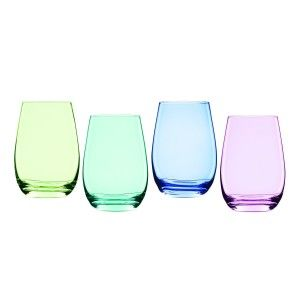 Vintage Ombre Stemless Wine Glasses Marquis Vintage Ombre lends a dash of color to the celebration with timeless Vintage barware favorites in four striking pastel hues. Each set includes a Bright Green, Blue, Purple and Aqua piece.