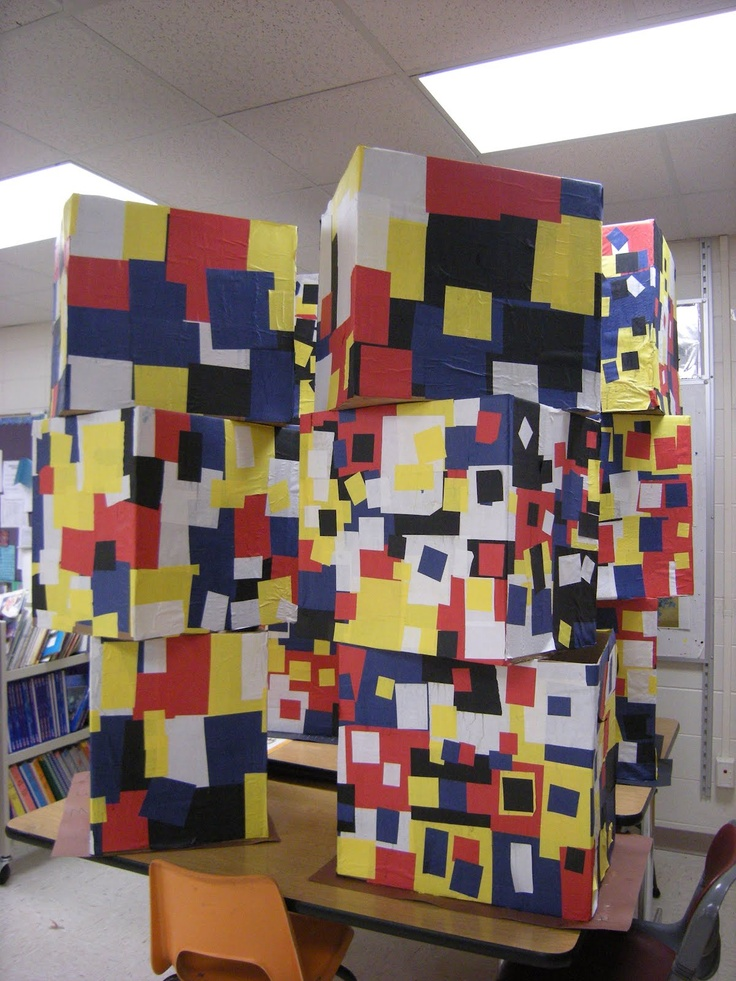 WHAT'S HAPPENING IN THE ART ROOM??: 1st Grade Mondrian Collaboration Sculpture