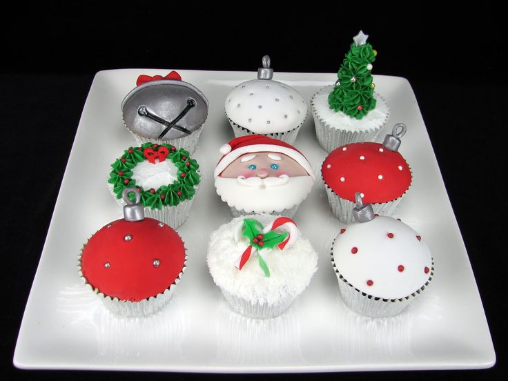 Merry Christmas! This is a small selection of the cupcakes I made this week. There were 100 in total. 35 Vanilla: Trees and wreaths 35 Red Velvet: Candy canes and Santas 30 Chocolate: Baubles and Bells.