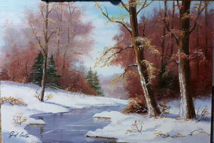 Téli tájkép  18x29 cm olaj farost