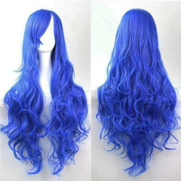 Cosplay Lolita pruik lang krullend haar koningsblauw