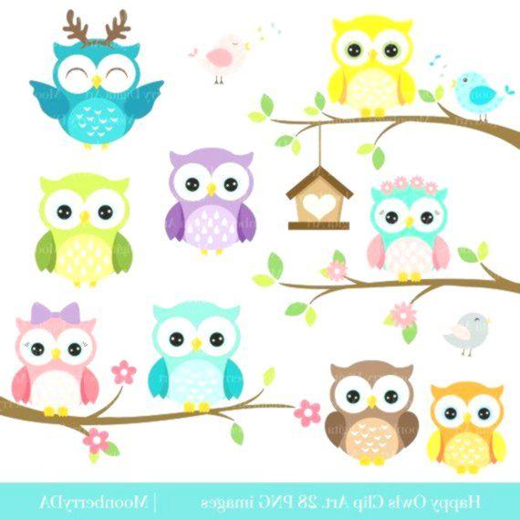 Gluckliche Eulenillustrationen Digitale Eulen Von Moonberrydigitalart Owl Clip Art Happy Owl Owl Birthday