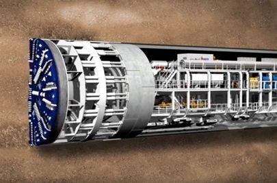 A tunnel boring machine (TBM) hollowing out a tunnel ready for Crossrail