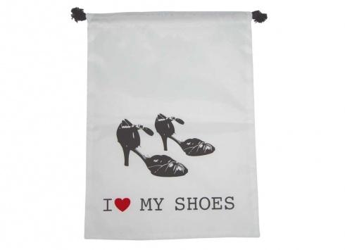 SACCHETTO NYLON SCARPE DONNA. Sacchetto nylon per scarpe donna di colore bianco con disegno di scarpe e scritta