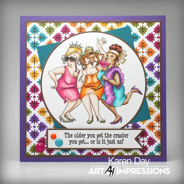 Art Impressions Rubber Stamps: (sku# U4765) Flaunt It set...Ai Girlfriends ... Handmade card.