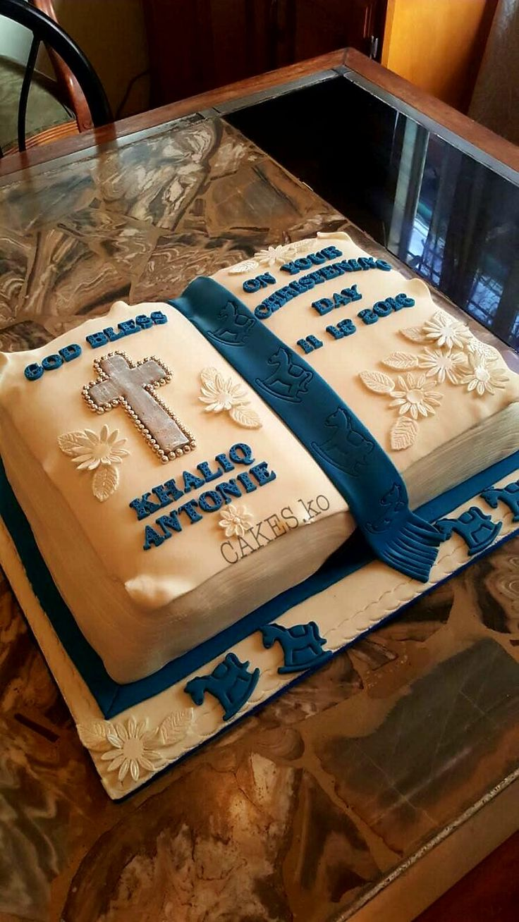 Lovely Christening cake for a baby boy. Click link to my business page for more of my work.