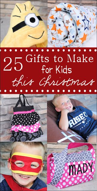 25 Gifts to Make for Kids this Christmas Season! This awesome round-up was put together by Crazy Little Projects... There are some pretty nifty homemade gifts that the kiddo's will absolutely love & cherish FOREVER especially knowing it was handmade with lots of love from someone very special to them :)