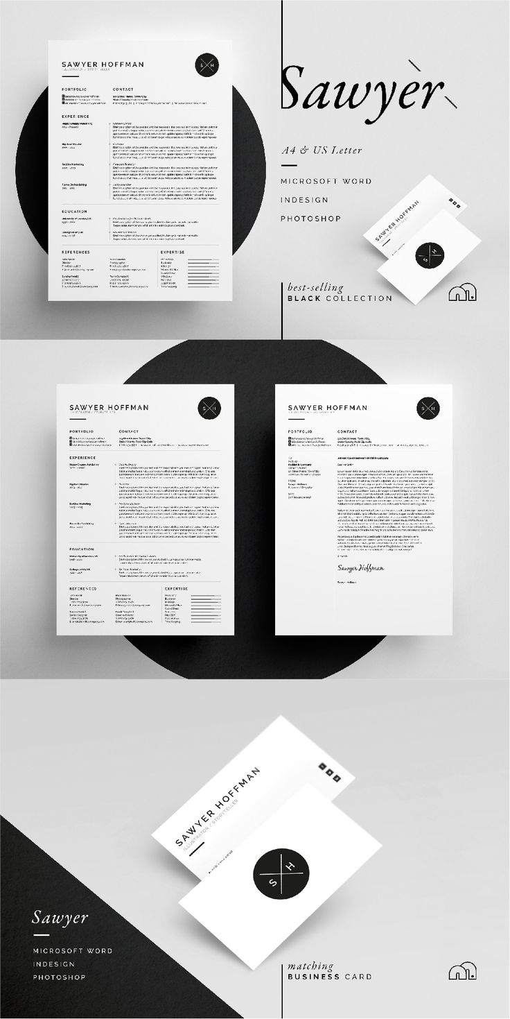 Resume/CV - Sawyer - Includes FREE Matching Business Card Design. simple design focusing on experience, which includes a single page Resume/CV and Cover Letter. #resume #cv #template
