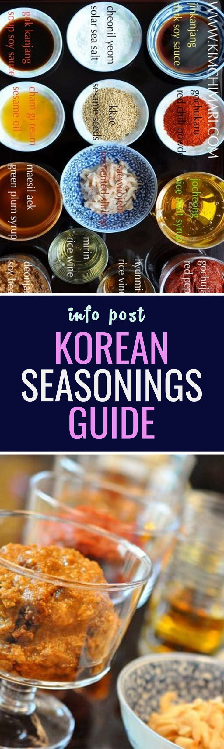Korean Seasonings Guide - Here is a guide for the basic sauce and condiments needed to make delicious Korean food.