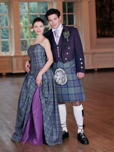 Isla, Tartan (Plaid) Wedding Dress | Scottish kilts online shop - Buy tartan kilt - Edinburgh.