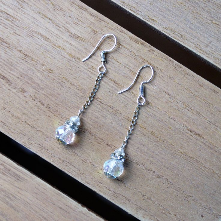 Crystal bead drop earrings. Bridal jewellery by AccessoriesShine on Etsy