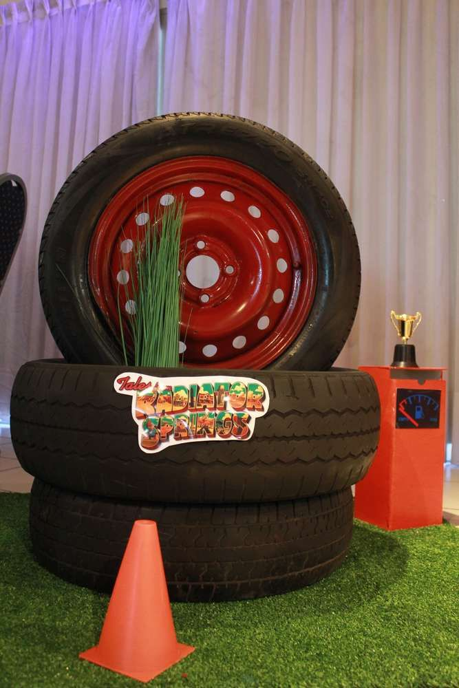 Decorations at a Disney Cars birthday party! See more party ideas at CatchMyParty.com!