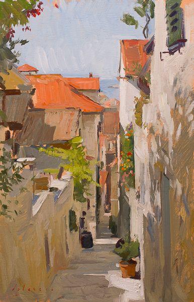 Hvar rue Rue de Hvar. 30 x 20 cm, huile sur panneau.