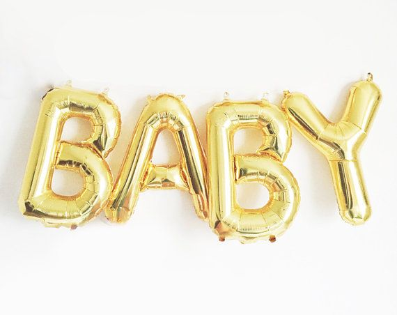 Baby Balloon Garland with Tassels Kit - Boy or Girl Baby Shower - Gold Letter Balloons Banner Decoration - Gender Reveal Ideas